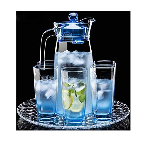 GYCS Jarra de Agua Juego de Botellas de Agua fría de Vidrio Taza de Agua fría de Alta Temperatura Jarra Creativa Resistente al Calor para té de Jugo frío Caliente Leche y café Jarra de té Helado