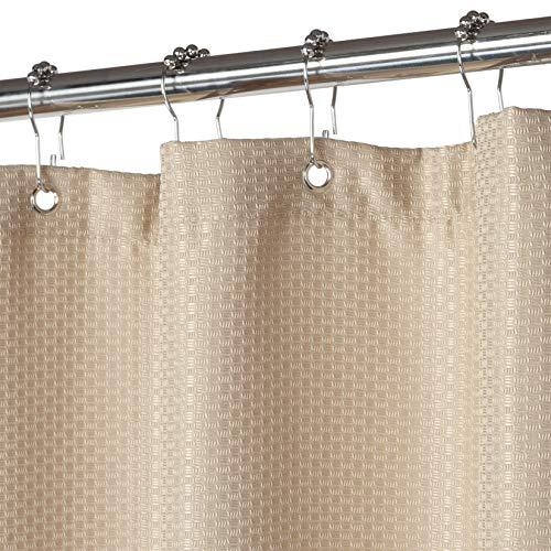LinTimes, tenda da doccia extra lunga, impermeabile, con motivo a cialde per bagno, vasche, hotel, facile da pulire, naturale, 182,9 x 213,4 cm