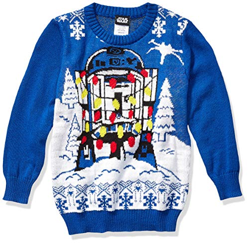 Star Wars Boys' Ugly Christmas Sweater, R2D2 1/Blue, Small (6/7)