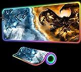 World of Warcraft Dragons Fire and Ice Dragon Alfombrilla de ratón Grande RGB para Juegos, retroiluminación LED, Accesorios para Juegos de PC, Teclado, Escritorio, tapete de Mesa, 700x300x4 mm