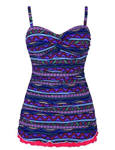 Hilor Women's One Piece Swimsuits Tummy Control Swimwear Ruffle Swimdress with Panty Purple 8