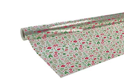 Clairefontaine 211761C Geschenkpapier Polyfine (50x0,70m, 35µ ) 1 Rolle Weihnachtsmotive