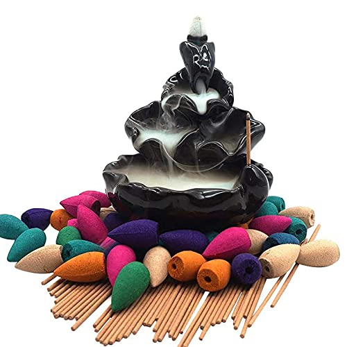 Moylor Ceramic Waterfall Incense Burner Set with 40 pcs Cones and 50 pcs Sticks Incense Handcraft Lotus Pond Censer for Home Aromatherapy