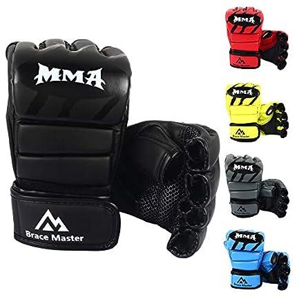 Brace Master MMA Gloves Guantes UFC Guantes de Boxeo para Hombres Mujeres Cuero Más Acolchado Saco de Boxeo sin Dedos Guantes para Kickboxing, Sparring, Muay Thai y Heavy Bag (Nuevo Negro L)