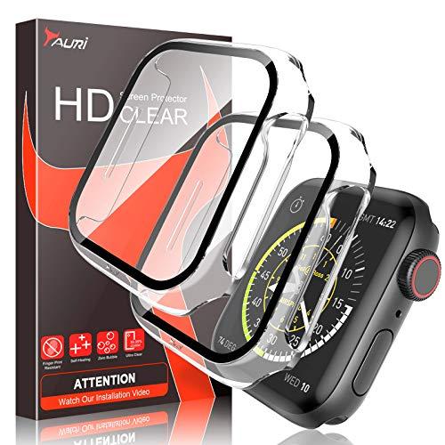 TAURI 2 Pack Custodia per Apple Watch 44MM Serie 6 5 4 SE Sottile Custodia Rigida per PC Proteggi Schermo in Vetro temperato Integrato Copertura Protettiva Complessiva per iwatch 44MM -Trasparente