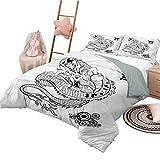 Copripiumino Giapponese Dragon Chic Home Copripiumino Set Tattoo Art Rettile Decorativo Set di biancheria da letto 3 pezzi con 2 fodere per cuscino Full Size