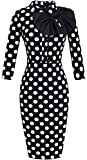 HOMEYEE Women's Vintage Bowknot 3/4 Sleeve Party Dress B244 (M, Dots)