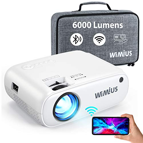 "WiMiUS Proiettore WiFi Bluetooth, Mini Videoproiettore 6000 Lumen Supporto 1080P Full HD, Proiettore Portatile per Telefono Compatibile con HDMI / PS4 / USB / TV Stick, Proiettore 250"" per Home Cinema"