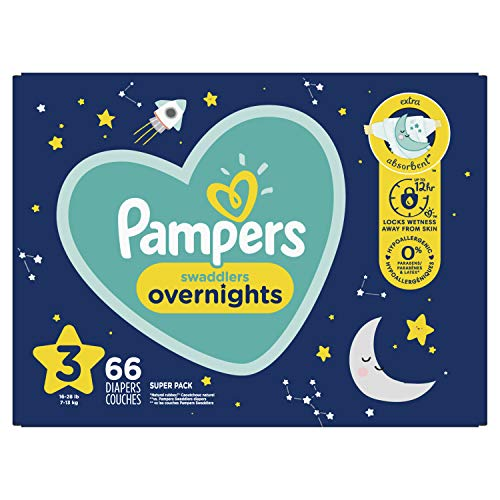 Diapers Size 3, 66 Count - Pampers Swaddlers Overnights Disposable Baby Diapers, Super Pack (Packaging May Vary)