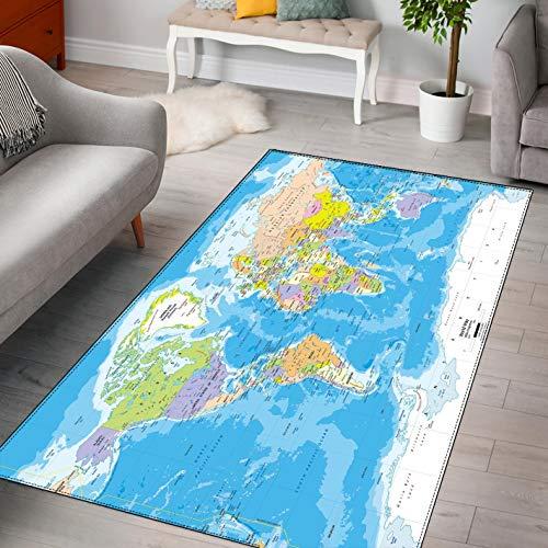 LGXINGLIyidian Alfombra Mapa del Mundo Creativo Y Hermoso Alfombra Suave Antideslizante para Decoración del Hogar Impresa En 3D F-728T 140X200Cm