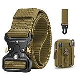 BESTKEE Cinturón táctico para hombres 1.5 pulgadas, estilo militar Cinturón con hebilla con cierre rápido de hebilla de metal, regalo con bolsa táctica Molle y gancho (Beige)