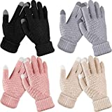 4 Pairs Women's Winter Touch Screen Gloves Warm Fleece Lined Knit Gloves Elastic Cuff Winter Texting Gloves (Black, Gray, Pink, Beige)