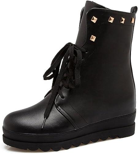 DYF Chaussures Nu Bottes Courtes Central Metal Bracelet Rivet Couleur Solide,noir,42