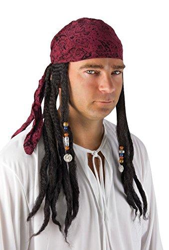 P 'tit clown 34750 pruik piraat met dreadlocks en doek - meerkleurig