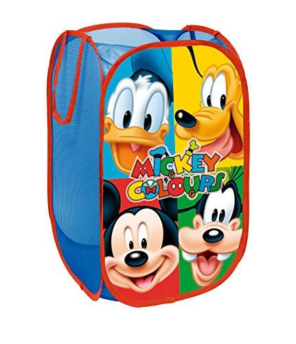 Superdiver Cesta Plegable Infantil de Tela con Asas para Ropa Sucia y Juguetes 36x36x58 centímetros (Mickey y Amigos)