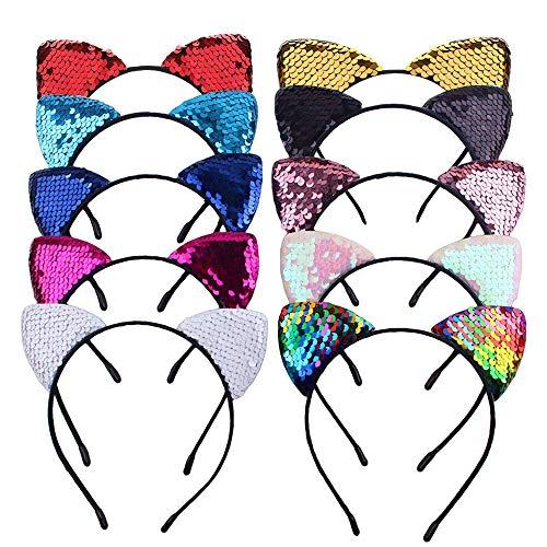Haarreifen mit Katzenohren,10 Stk Glitter Pailletten Katzenohren Stirnband Haarband Haarband Headwear für Party,Cosplay