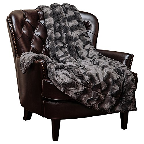 Chanasya Fuzzy Faux Fur Throw Blanket - Soft Wave Embossed Pattern - for Bed Couch Plush Suitable for Fall Winter and Summer (50x65 Inches) Dark Grey Blanket