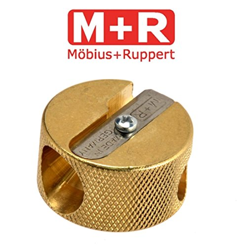 Mobius & Ruppert Solid Brass Pencil Sharpener Circular Round Double...
