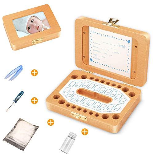 Zahndose Milchzähne inkl Milchzahn Box Holz Zahnbox Milchzähne Zahndose Milchzahndose Zahndöschen,für Kinder Geschenkideen zu Taufe und Geburtstag