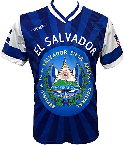 ARZA New El Salvador Men's Soccer Jersey USA Proud Shirt (XL) Blue,White