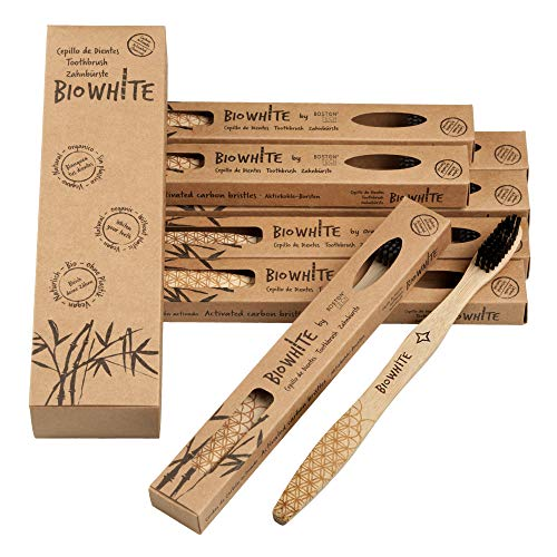 Boston Tech BioWhite 12 Biologisch abbaubare Zahnbürsten aus reinem Bambus. Empfohlen von Zahnärzten auf der ganzen Welt. Black Carbon Bamboo Borsten mit BPA-freiem Bleaching-Effekt