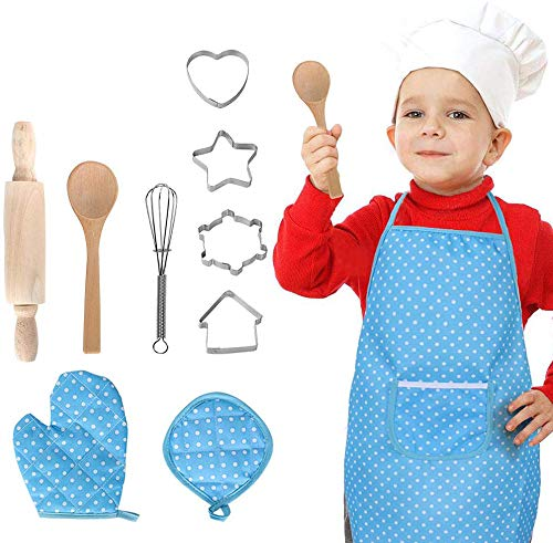 NIWWIN Complete Kids Cooking and Baking Set - 11 Pcs Includes Apron for Little Girls, Chef Hat, Mitt & Utensil for Toddler Dress Up Chef Costume Career Role Play for 3 Year Old Girls and Up Blue