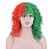 FHUA Pelucas Estrella con la Peluca de Cosplay Pelo Corto y Rizado Europa y América Peluca de Moda de Peque?o Volumen Medio Rojo Medio Verde