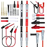 Goupchn Silicone Multimeter Test Leads Kit 25PCS with Replaceable Gold-Plated Precision Sharp Probe Set, Alligator Clips, Minigrabber Test Hooks and Wire Piercing Test Probes