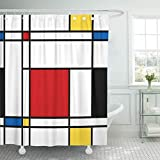 Shower Curtain Polyester Bath Curtain 72x72 Inch Red Mondrian Abstract Geometric Colorful Pattern for Continuous Replicate Yellow Pop Bathroom Decor Anti