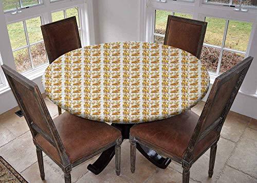 Ronde tafelkleed keuken decoratie, tafelblad met elastische randen, Baby Safari Dier Romantische Personages Jongen en Meisje Mascotten Bleke Bruin Roze Geel, camping tafelkleed