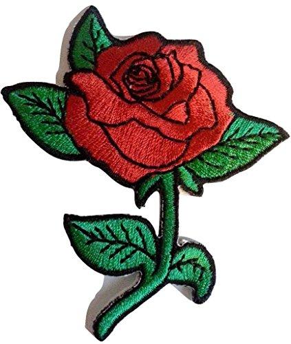 b2see Blumen Aufnäher Patches für Jacken Jeans Kleidung Frauen Bügelbilder Flicken Stoff Patch Kleider Applikation Aufnäher zum aufbügeln  8 x 6 cm Rose rot