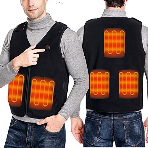 Chaleco calefactable de tamaño ajustable, chaleco calefactor eléctrico con cuello en V para hombre / mujer, chaqueta calefactora eléctrica recargable por USB, chaleco calefactor infrarrojo,Negro,L