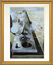 EuroGraphics Apparition of The Face of Aphrodite by Salvador Dali. Framed Art Print Poster. Custom Made Real Wood Traditional Gold Frame (18 1/8 x 22 1/8)