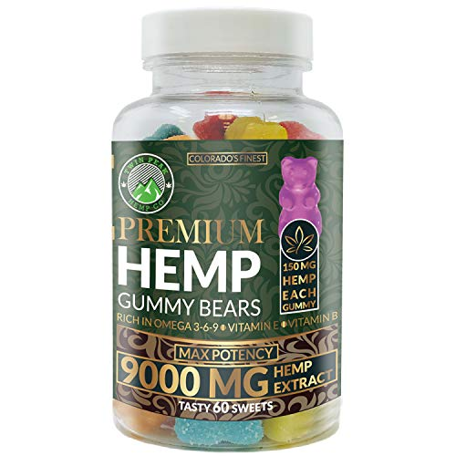 Hemp Gummies Premium 9000 Milligram High Potency - 150 Per Fruity Gummy Bear - Stress Relief, Inflammation, Pain, Restful Sleep, Anxiety, Rich in Omega 3-6-9. Vitamin E and Vitamin B
