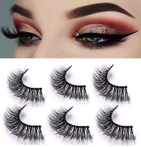 3D Mink False Eyelashes-Dramatic Makeup Strip Eyelashes 100% Siberian Fur Fake Eyelashes Hand-made Natural Messy False Eyelashes& Reusable 3 Pair Pack
