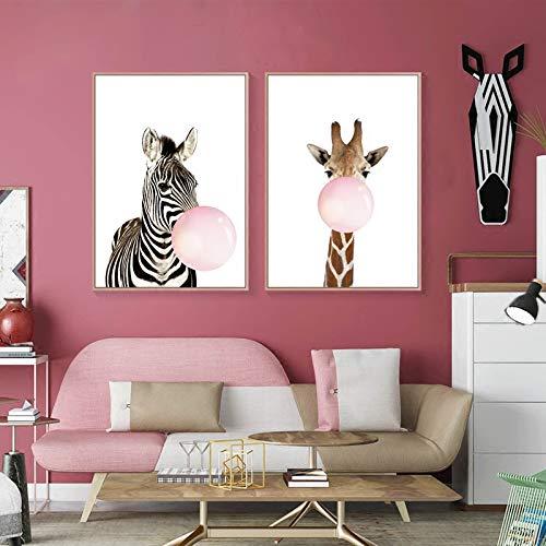 cuadro de lienzo para niños sin marco dibujos animados con diseño caballo jirafa globo sala estar pósters imagen soplando chicle I, 60x80cm No Frame