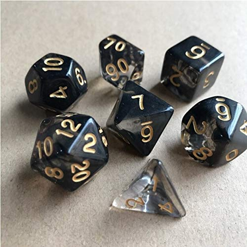 EQVUDJT 42pcs New Dice Set Dados Tocando Cubos Dados poliédricos para RPG Dungeons y para Juego de Mesa (Color : Black Gold)