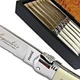 Laguiole steak knives ABS luxury white with micro-serrated-blade direct from France