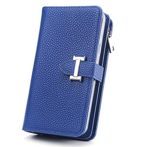 HARRMS portemonnee met mobiele telefoonhoes telefoonvak compatibel met Samsung Galaxy S8 Plus met creditcardvakje geldklemmen leren hoes magneet beschermhoesje, dames/heren