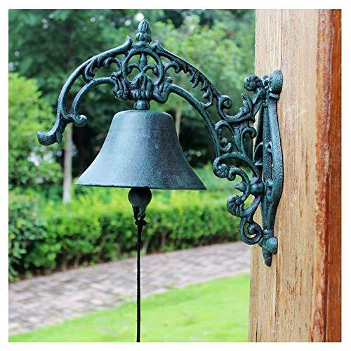 Campa de hierro fundido Campana Estilo rústico Sacudiendo manualmente la pared Colgando Timbre de servicio pesado Dorero interior Montado en la pared Cena Bell Classic Sculpture para jardín Patio Vill