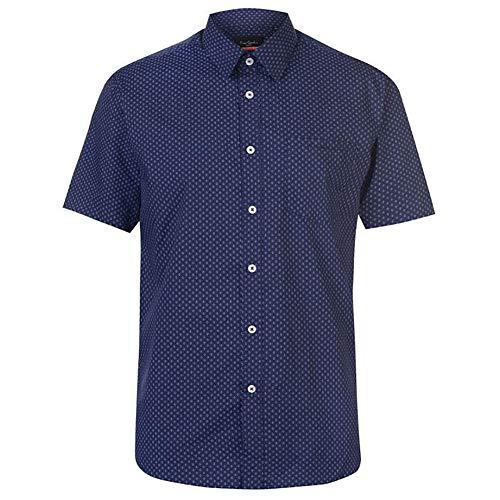Pierre Cardin Herren Shirt Kurzarm Kariert oder Gedruckt Mit Unterschrift Stickerei (4XL, Navy)