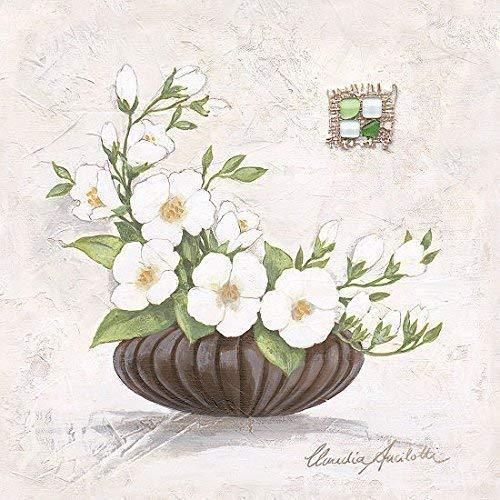 Leinwand-Bild - Claudia Ancilotti: Hanni 20 x 20 cm Stillleben Blumen Vase modern Landhaus Blüten weiss