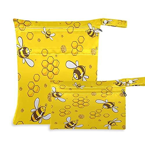 2 bolsas de tela para pañales húmedos, impermeables, lindos animales de abeja reutilizables, lavables, para viajes, playa, yoga, gimnasio, para trajes de baño, ropa húmeda