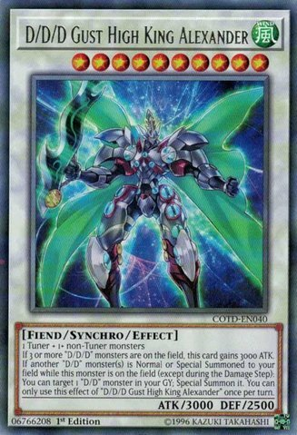 D/D/D Gust High King Alexander - COTD-EN040 - Rare - 1st Edition - Code of the Duelist (1st Edition)