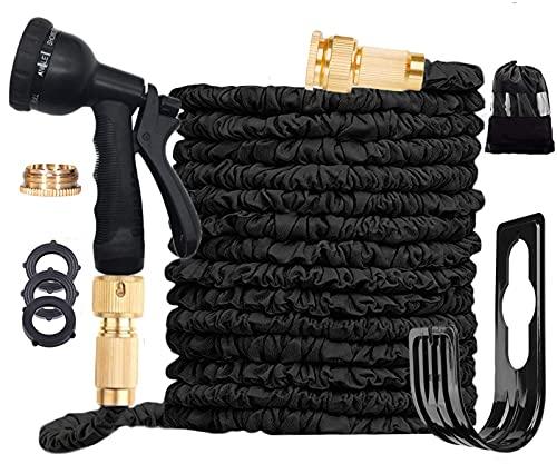 Ansyu Tuyau darrosage extensible jusqu'à 30,5 m avec pistolet pulvérisateur 8 fonctions, tuyau magique extensible, anti-fuite, raccords en laiton, support de tuyau, sac de rangement (noir)