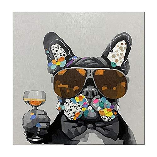 SYLSBAZGYS Arte Moderno de Graffiti Perro con Gafas de Sol Pintura en Lienzo Carteles e Impresiones artísticos de Pared nórdica para la Sala de Estar Decoración del hogar Sin marco-50x50cm