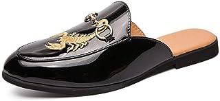 Kindlov-sho Zapatillas de Cuero Casuales para Hombre Slip On Mocasines Patentes Mules Patines Diapositivas Zapatos Vamp Decor con Zapatillas de Cadena para Verano Playa al Aire Libre