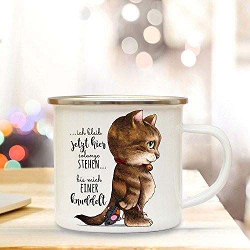 ilka parey wandtattoo-welt Emaille Becher Camping Tasse mit Katze & Spruch Kätzchen Kaffeetasse Geschenk Kaffeebecher eb79