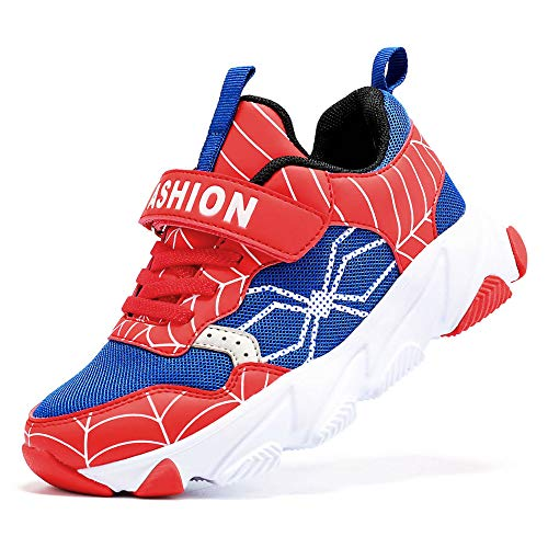 Scarpe Sportive Bambini e Ragazzi Scarpe da Corsa Ginnastica Respirabile Mesh Running Sneakers Fitness Casual(H Blu Rosso,32 EU)