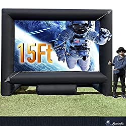 in budget affordable 15-foot inflatable cinema screen for indoor and outdoor installations, supporting front and rear projection, …